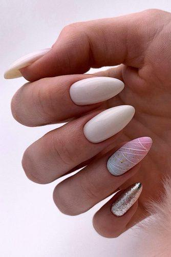 nail ideas wedding white rainbow ombre and silver glitter trendy bridal nails paulines_studio