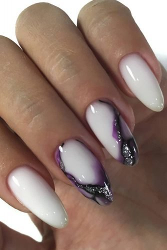 nail ideas white with lilas and silver design zakazama_nails