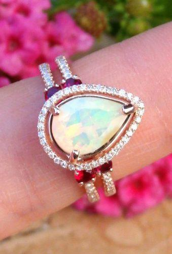 opal engagement rings peach opal ring diamond aleamarico