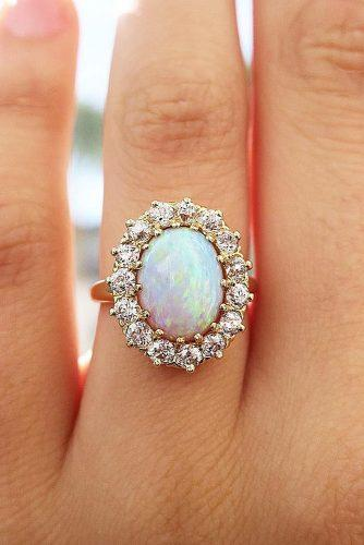 opal engagement rings rose gold oval cut halo