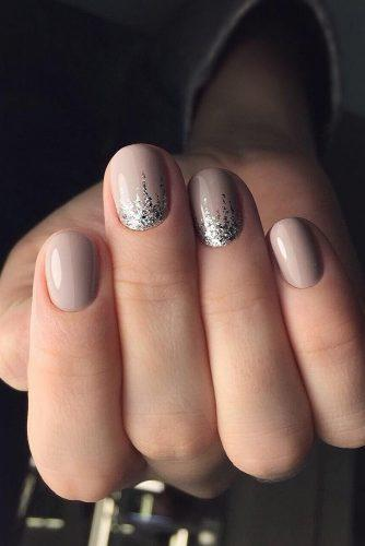 pinterest nails gentle nude with silver glitter sashstudio via instagram