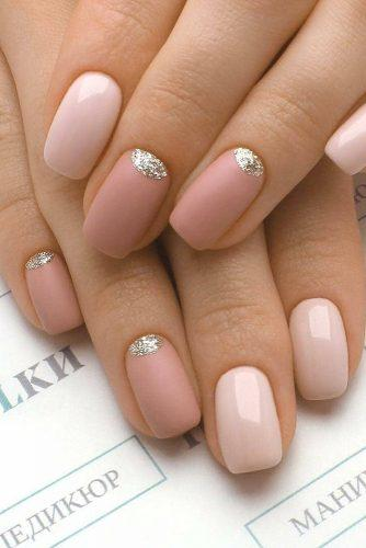 pinterest nails gentle pink matte with gold accents pilki_nail