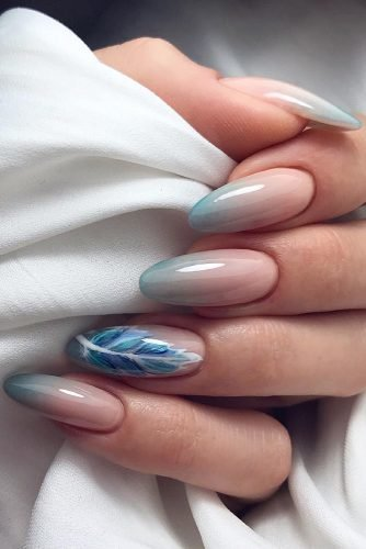 pinterest nails nude blue ombre and feathers majamarkowicz