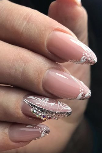 pinterest nails nude elegant with white patterns rhinestones and silver gloss armavir_viktoriya_nails