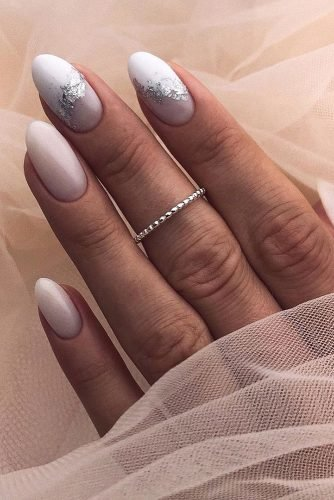 pinterest nails ombre white with foil effect lyuciya_nails