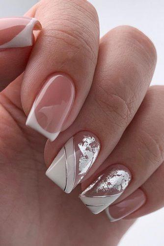 pinterest nails original french with white and silver foil effect lyasha_nevskaya