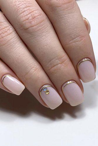 pinterest nails pink shimmer with rhinestones and gold stripes mari_nails_nsk