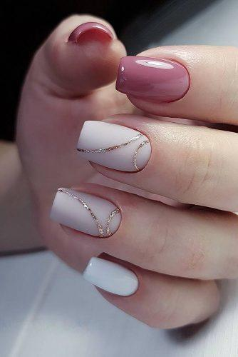 pinterest nails svetlana white pink with gold kadyntseva_nails via instagram