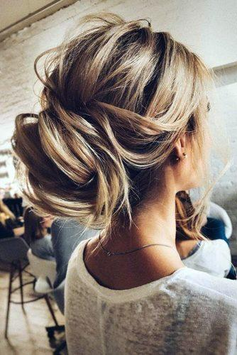 pinterest wedding hairstyles messy swept bun tonyastylist via instagram