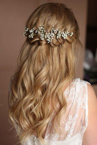 pinterest wedding hairstyles rustic half up half down with white flowers kristinagasperasmua via instagram