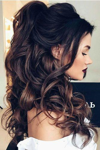 pinterest wedding hairstyles volume curly half up half down on brunette hair elstile via instagram