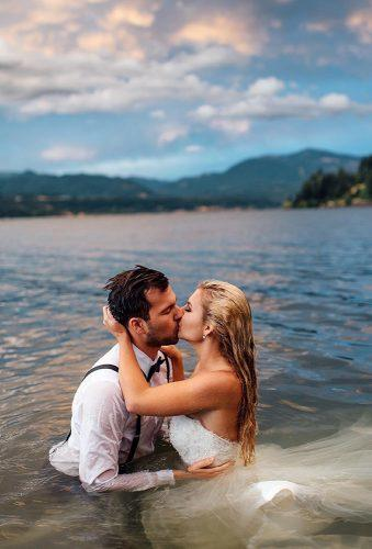 romantic photos wedding day couple in water le karina