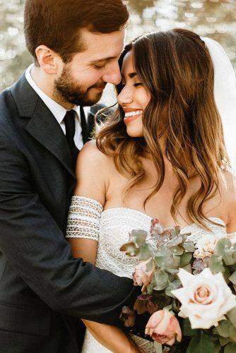 romantic wedding couple with white rose laurenscotti