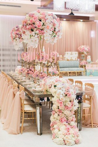 rose gold wedding décor golden chairs mirror table flowers and candles on the table luna de mare photography