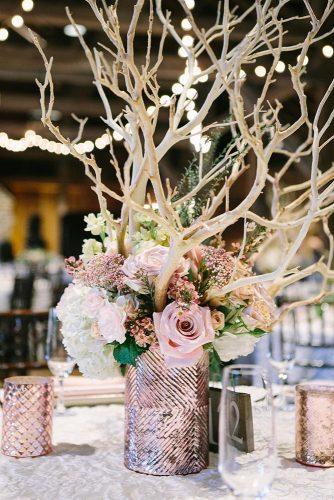 rose gold wedding decor centerpiece with roses and brunches aidenandgrace