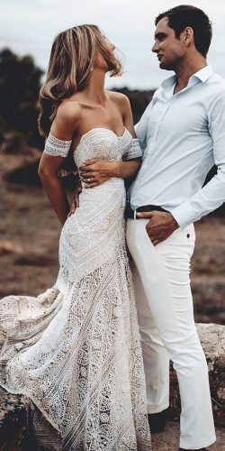rue de seine wedding dresses sweetheart off the shoulder boho delicate lace sexy