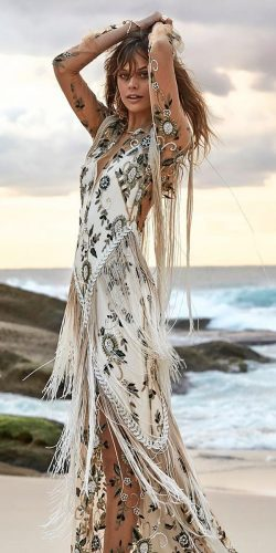 rue de seine wedding dresses with illusion long sleeves flutter floral embellishment nude beach
