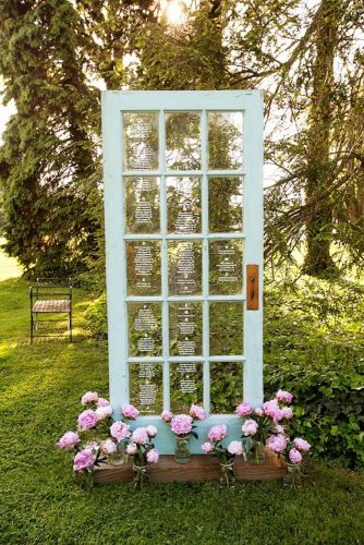 rustic backyard wedding decoration old blue door and frose lowers sarah schulte