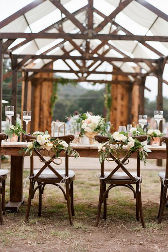 rustic backyard wedding decoration under a wooden awning table and chairs decorated with flowers and inscriptions bryan n miller photography
