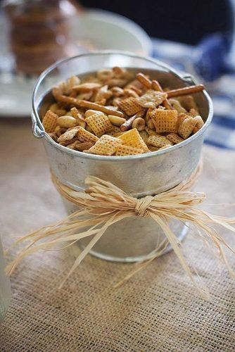 rustic barbecue bbq wedding metal bucket of treats decorated with a bowl chanterelle photography