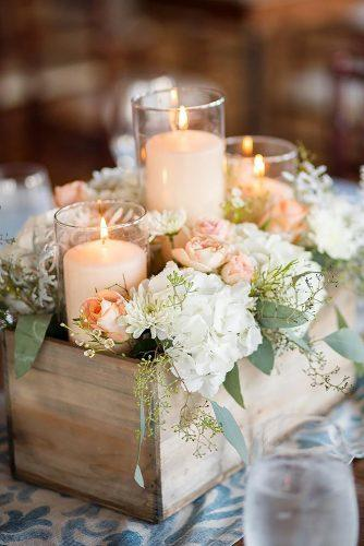 rustic wedding décor wooden crate centerpiece with flowers and candles maypolestudios via instagram