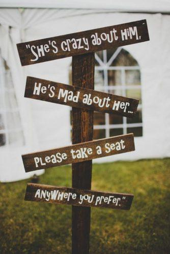 rustic wedding signs she is crazy Shannon May Photography
