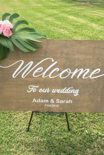 rustic wedding signs sign with rose flower decalology1