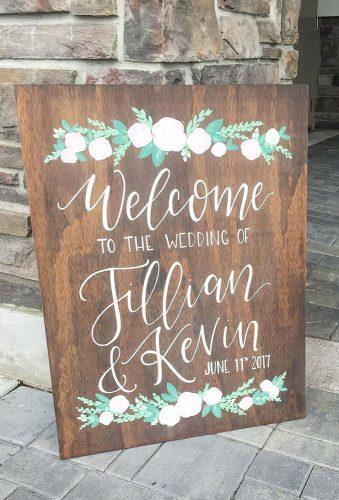 rustic wedding signs wood welcome sign with tender flowers mullys_handcrafted