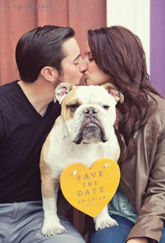 save the date photo ideas couple kiss and dog Amanda Marie Events