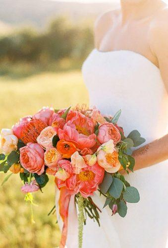 silk wedding bouquets coral bouquet daniellepoffphoto