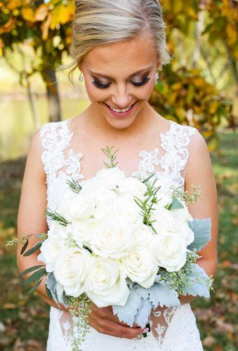 silk wedding bouquets tender white rose mathersphotography