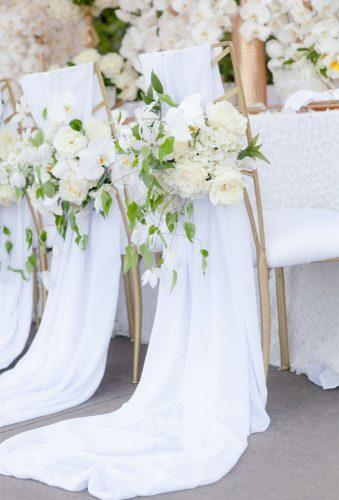 simply chic wedding flower decor idea white chairs decor elizabethannedesigns