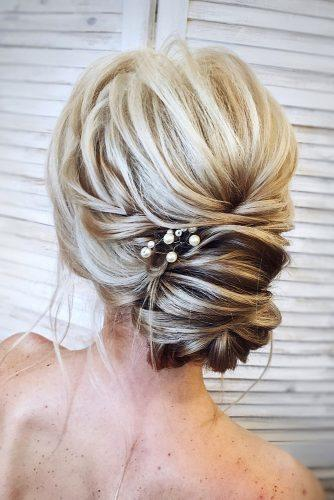 timeless bridal hairstyles volume low bun with braided texture kamalova via instagram
