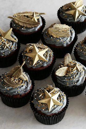 unique wedding cupcake ideas chocolate with grey cream and gold stars and feathers kayndesserts