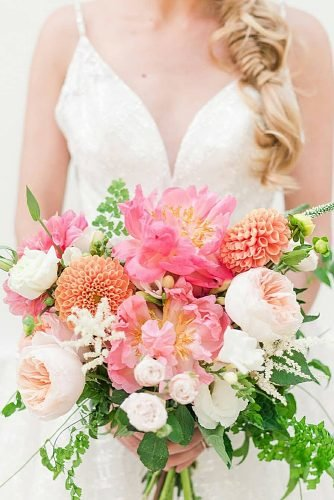 wedding bouquets bright and colorful bouquet with peonies