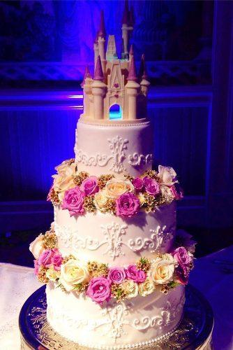 wedding cakes pictures castle flower white cake disneybakerdcp