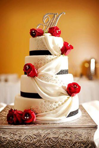 wedding cakes pictures white cake with red flower mulberrylanestudio