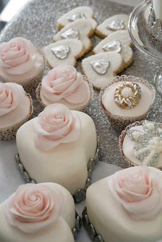 wedding cupcake tender pink and white roses and heart shaped wedding cakes via instagram