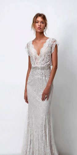 wedding dress designers sheath lace v neckline with short sleeves lihi hod