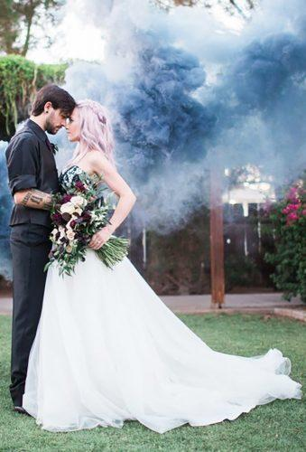 wedding entourage photo ideas couple in grey smoke denisekaris