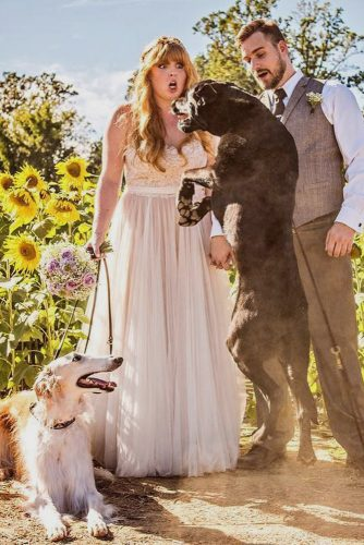 wedding entourage photo ideas funny bride and groom with pets love and adventure photography