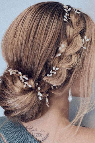 wedding hairstyles every hair length elegant low bun with side braid and pearls lalasupdos