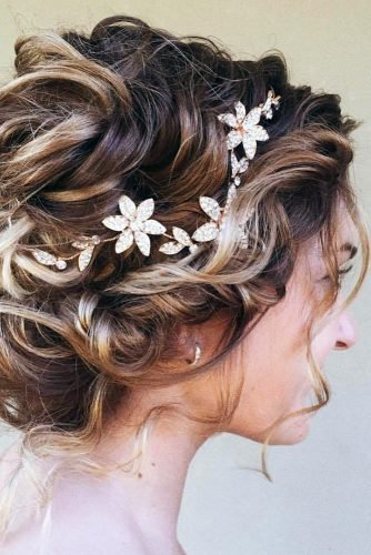 wedding hairstyles for curly hair short updo with rhinestones halo ulyana.aster