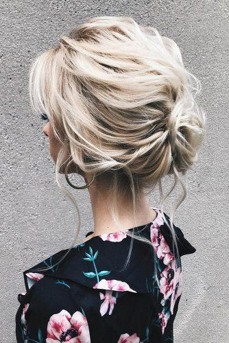 wedding hairstyles for thin hair curly low bun on blonde hair sasha_esenina
