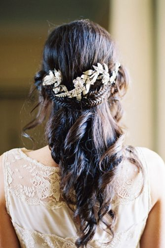 wedding hairstyles for thin hair half up half down with braids and silver hairpin michael and carina photography