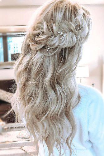 wedding hairstyles for thin hair long blonde half up half down with braided crown blohaute