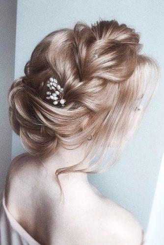 wedding hairstyles for thin hair long blonde updo airy with braided texture olesya_zemskova