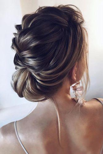 wedding hairstyles for thin hair textured low updo for short hair tonyastylist