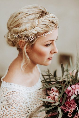 wedding hairstyles for thin hair updo on blond hair with crown braid and accessory the eloquential bride via instagram