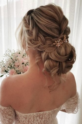 wedding hairstyles for thin hair volume low bun with side braid and accessories pearly.hairstylist